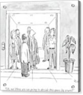 A Man Is Trying To Get In An Elevator With Six Acrylic Print