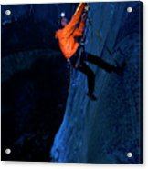 A Man Jumaring To A Route On El Cap Acrylic Print