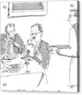 A Man Licks His Plate Clean At A Restaurant Acrylic Print