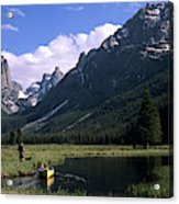 A Man Pulls His Canoe Up A River Valley Acrylic Print