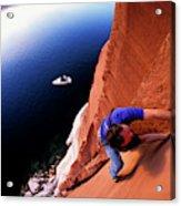 A Man Rock Climbing Acrylic Print