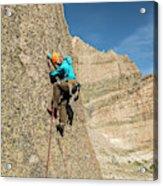 A Man Rock Climbing In Rocky Mountain Acrylic Print