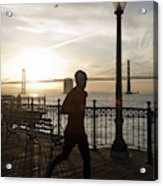 A Man Running On A Dock In The Harbour Acrylic Print