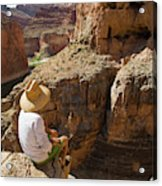 A Man Sits High On The Rim Of South Acrylic Print