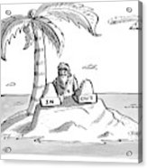 A Man Sits On A Deserted Island With Two Boxes: Acrylic Print