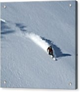 A Man Snowboards Down A Slope On Teton Acrylic Print