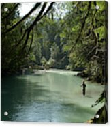 A Man Stands In A River Wearing Waders Acrylic Print