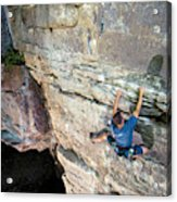 A Man Tackles An Overhanging Sandstone Acrylic Print