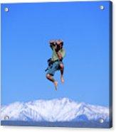 A Man Takes A Photo While Jumping Acrylic Print