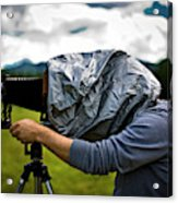 A Man Takes A Photograph With His Large Acrylic Print