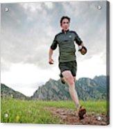 A Man Trail Runs Along The Spring Brook Acrylic Print