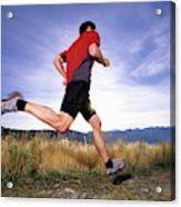 A Man Trail Runs In Salt Lake City Acrylic Print