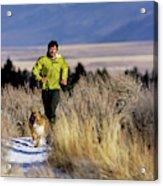 A Man Trail Runs On A Winter Day Acrylic Print