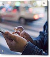 A man uses a mobile phone at Shibuya crossing Acrylic Print