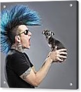 A Man With A Blue Mohawk Yells At His Acrylic Print