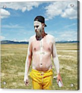 A Mans Face Covered In Clay Mud Acrylic Print