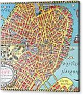 A Map Of Old Boston In The Commonwealth Of Massachusetts Acrylic Print