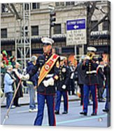 A Marine Band Marching In The 2009 New York St. Patrick Day Parade Acrylic Print