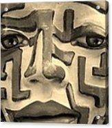 A Maze Ing Face 1 Sepia Acrylic Print