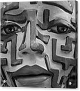 A Maze Ing Face Black And White Acrylic Print