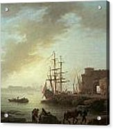 A Mediterranean Port At Dawn Acrylic Print by Claude-Joesph Vernet