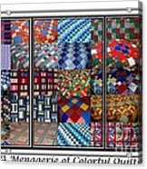 A Menagerie Of Colorful Quilts Triptych Acrylic Print
