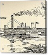 A Mississippi Steamer Off St Louis From American Notes By Charles Dickens  Acrylic Print by EH Fitchew