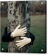 A Model Hugging A Tree Acrylic Print