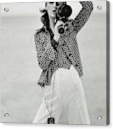 A Model Looking Through A Beaulieu Camera Wearing Acrylic Print