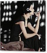 A Model Wearing A Branell Dress Acrylic Print