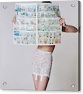 A Model Wearing A Girdle With A Comic Acrylic Print