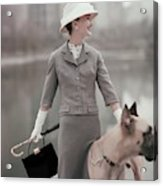 A Model Wearing A Gray Suit With A Dog Acrylic Print