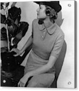 A Model Wearing A Knit Dress Acrylic Print