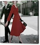 A Model Wearing A Red Coat Acrylic Print