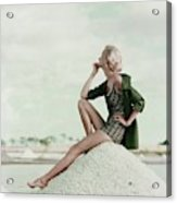 A Model Wearing A Swimsuit And Jacket Acrylic Print