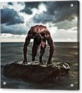 A Muscular Man In The Starting Position Acrylic Print