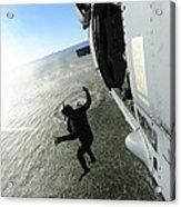 A Naval Air Crewman Jumps From An Acrylic Print