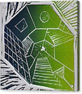 A New Dimension Blue And Green Linocut Acrylic Print