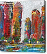 A Night In The City Acrylic Print by Melisa Meyers