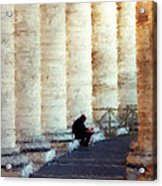A Painting Alone Among The Vatican Columns Acrylic Print