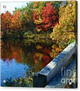 A Painting Autumn Lake And Bridge Acrylic Print