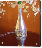 A Painting Silver Vase On Table Acrylic Print
