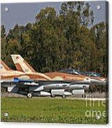 A Pair Of F-16c Barak Of The Israeli Acrylic Print