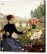 A Parisian Flower Market Acrylic Print