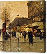 A Parisian Street Scene Acrylic Print by Eugene Galien-Laloue