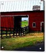 A Peaceful Day With A Barn Acrylic Print by Christine Burdine