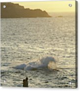 A Person Hiking On Rocky Shore Acrylic Print