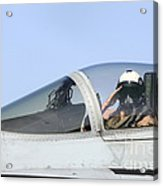 A Pilot Salutes Prior To Take Off In An Acrylic Print