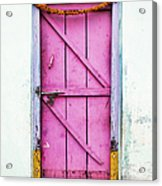 A Pink Door Acrylic Print by Tim Gainey