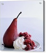 A Poached Pear With Cream Acrylic Print